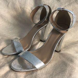 J Crew Silver Heels Size 7 1/2